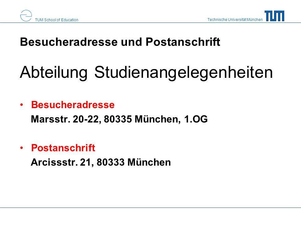 Besucheradresse und Postanschrift