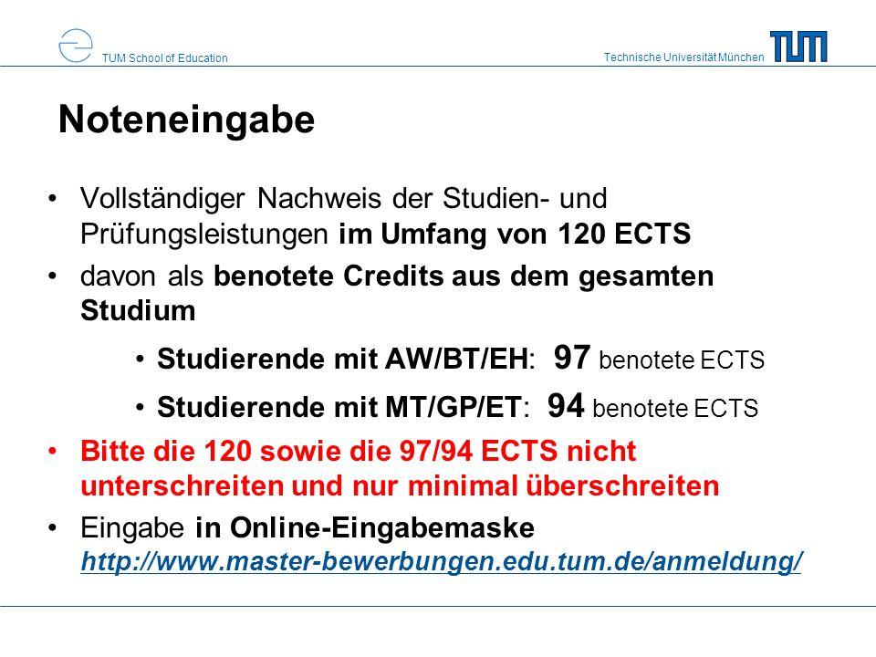 Noteneingabe Vollständiger Nachweis der Studien- und Prüfungsleistungen im Umfang von 120 ECTS. davon als benotete Credits aus dem gesamten Studium.