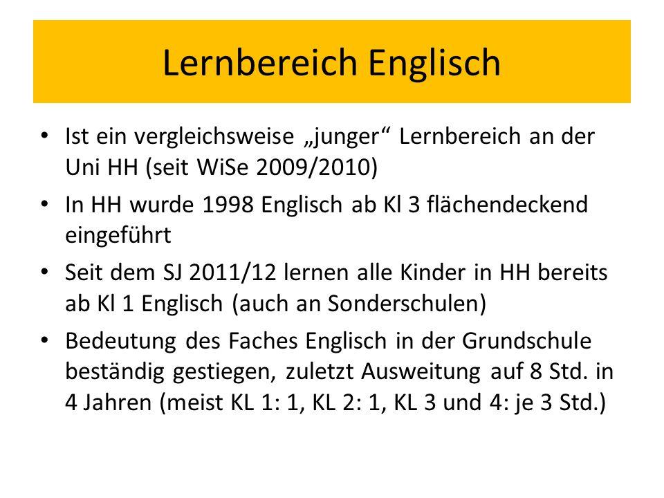 """Lernbereich Englisch Ist ein vergleichsweise """"junger Lernbereich an der Uni HH (seit WiSe 2009/2010)"""
