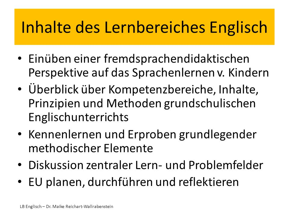 Inhalte des Lernbereiches Englisch