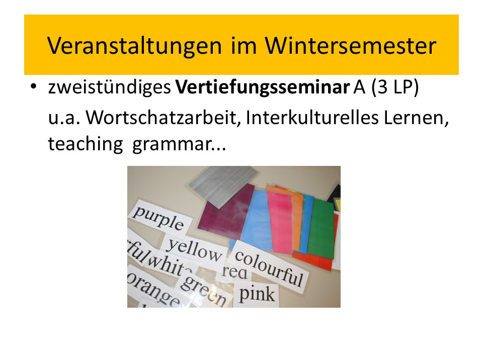Veranstaltungen im Wintersemester