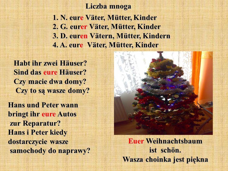 Euer Weihnachtsbaum ist schön. Wasza choinka jest piękna