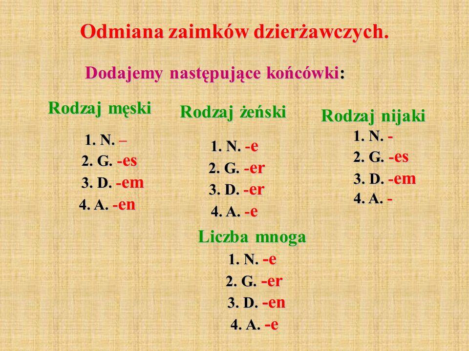 Liczba mnoga 1. N. -e 2. G. -er 3. D. -en 4. A. -e