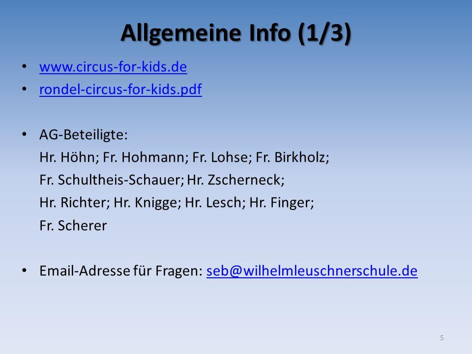 Allgemeine Info (1/3) www.circus-for-kids.de