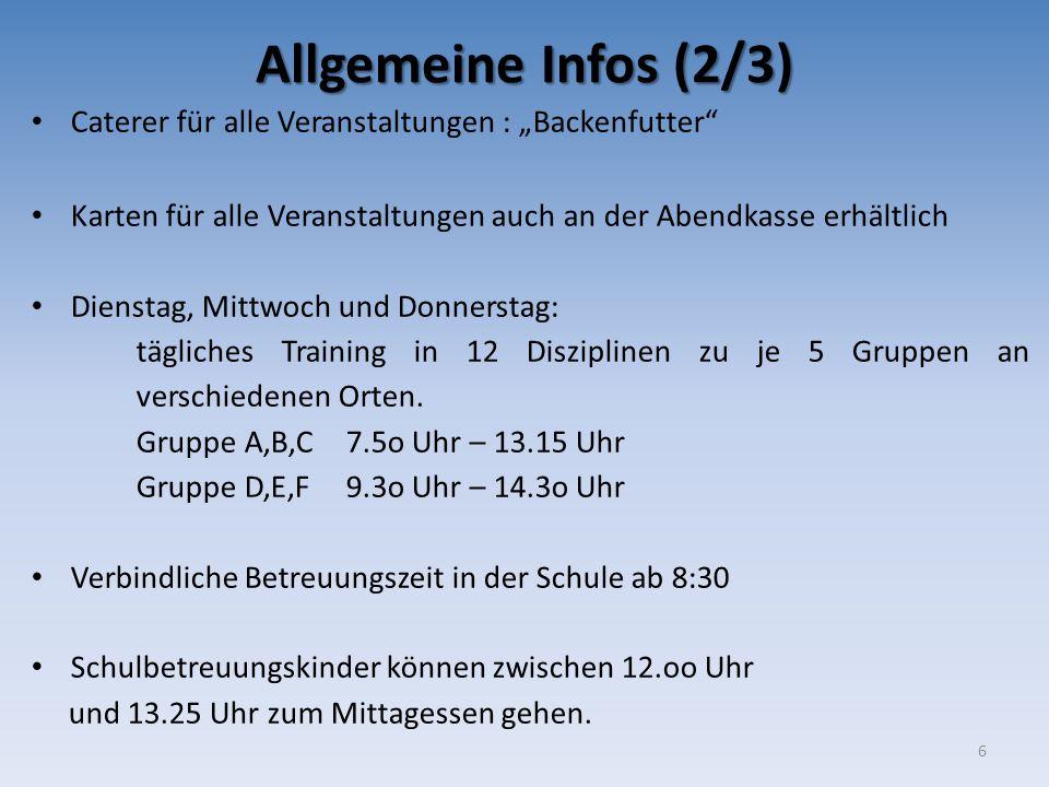 """Allgemeine Infos (2/3) Caterer für alle Veranstaltungen : """"Backenfutter Karten für alle Veranstaltungen auch an der Abendkasse erhältlich."""