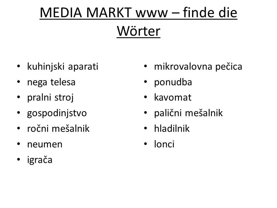 MEDIA MARKT www – finde die Wörter