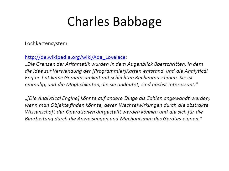Charles Babbage Lochkartensystem