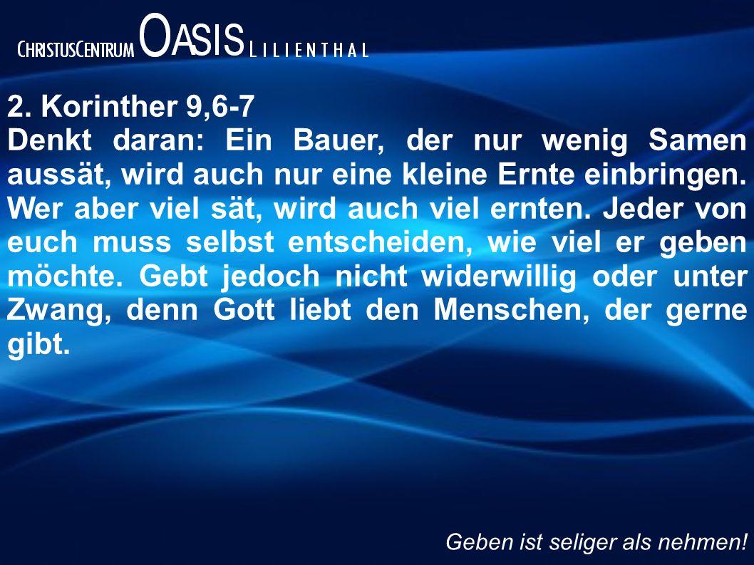 2. Korinther 9,6-7