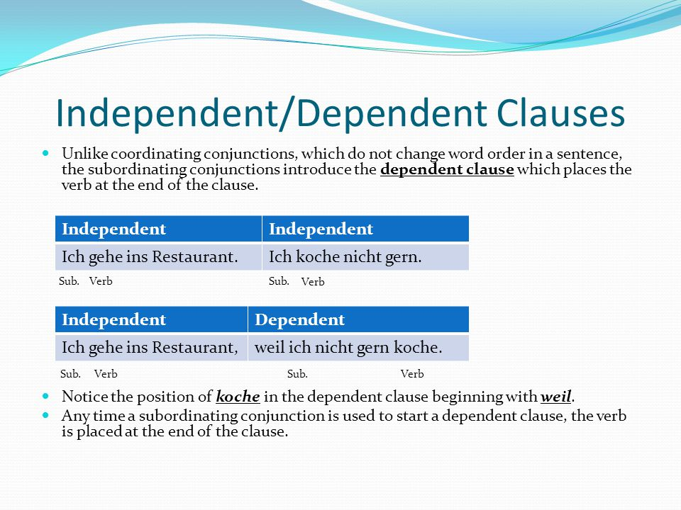 Independent/Dependent Clauses