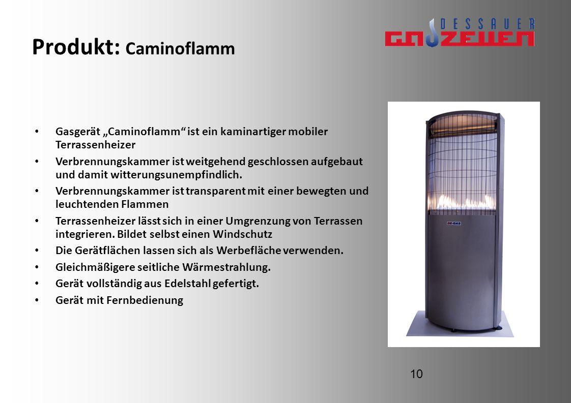 """Produkt: CaminoflammGasgerät """"Caminoflamm ist ein kaminartiger mobiler Terrassenheizer."""