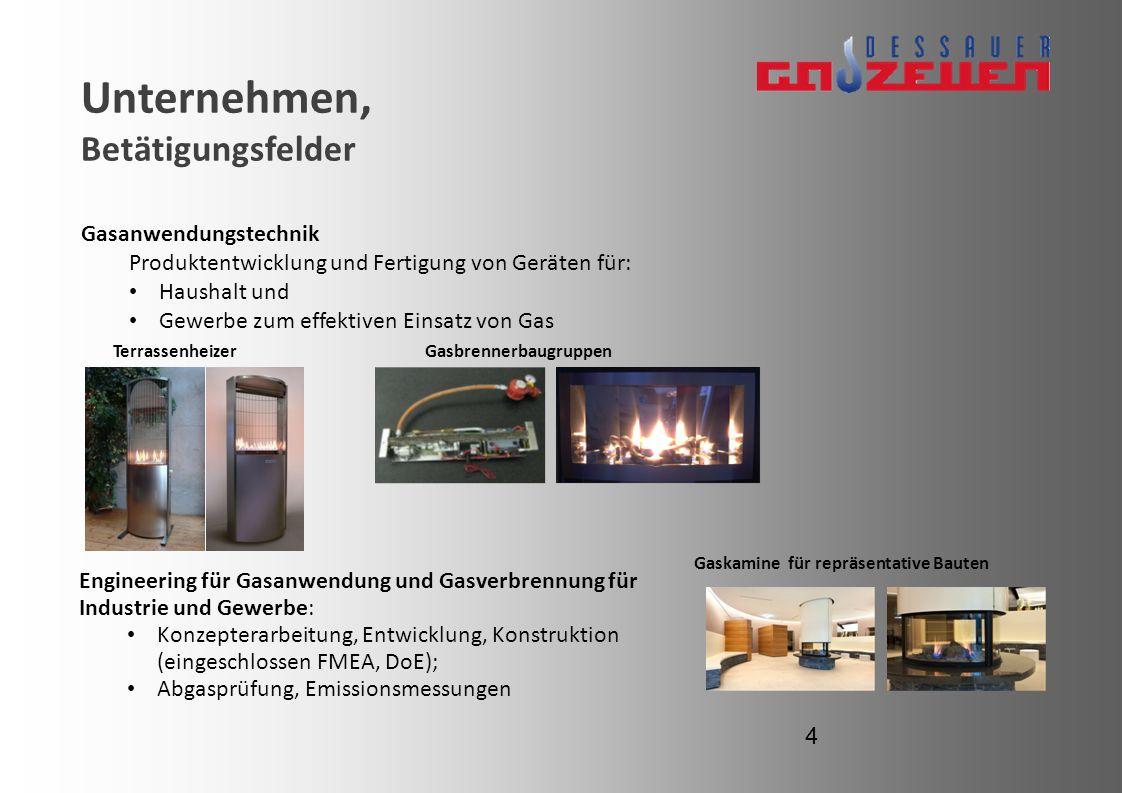 Unternehmen, Betätigungsfelder Gasanwendungstechnik