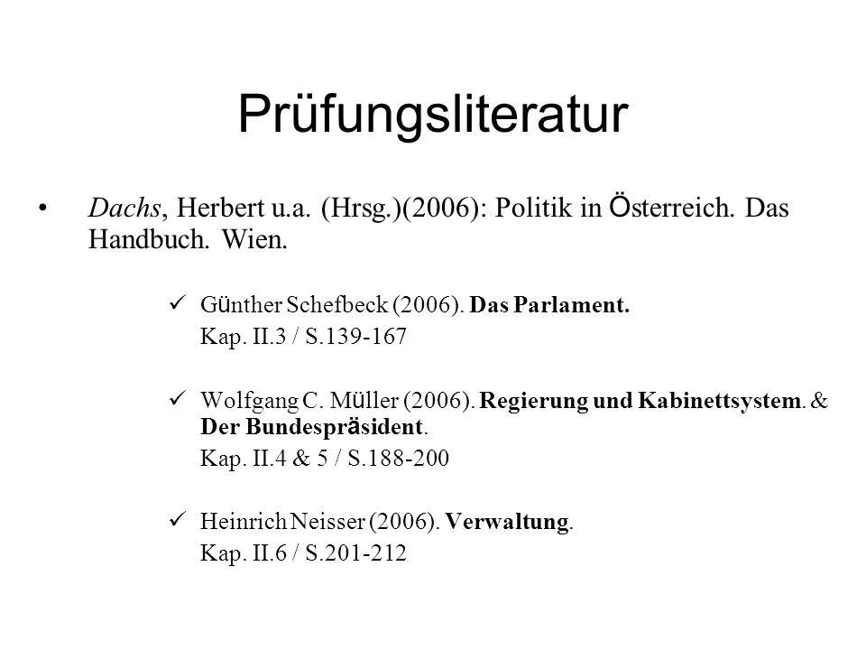 Prüfungsliteratur Dachs, Herbert u.a. (Hrsg.)(2006): Politik in Österreich. Das Handbuch. Wien. Günther Schefbeck (2006). Das Parlament.