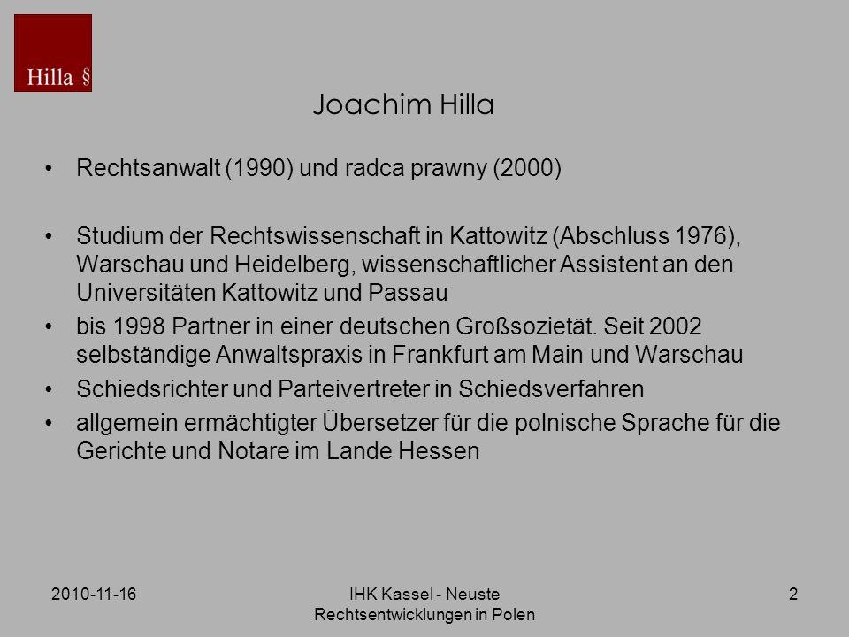 IHK Kassel - Neuste Rechtsentwicklungen in Polen