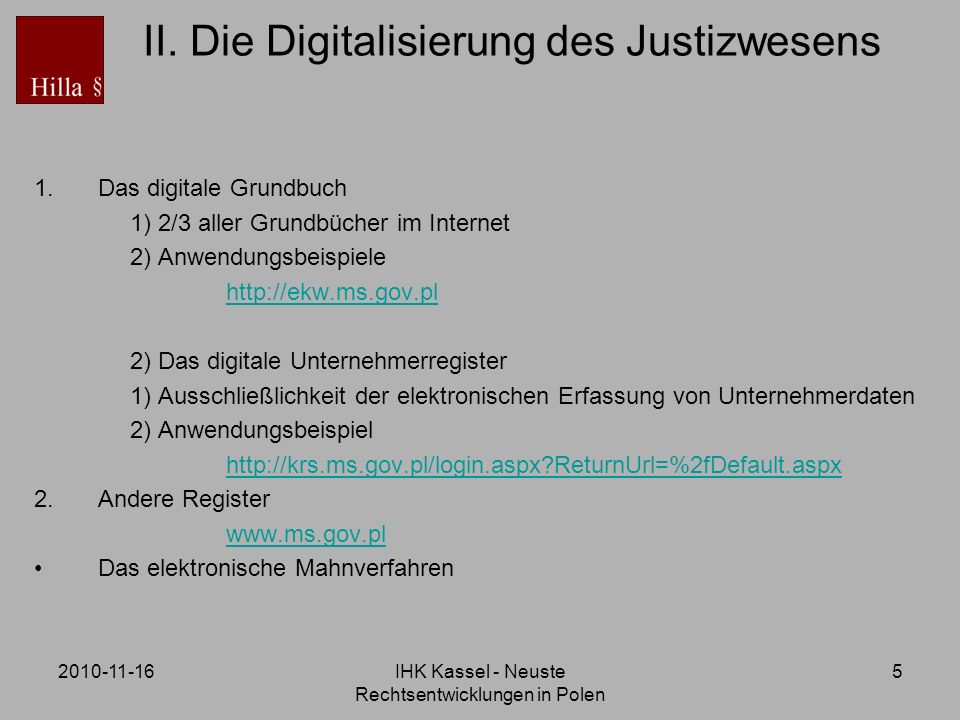 II. Die Digitalisierung des Justizwesens