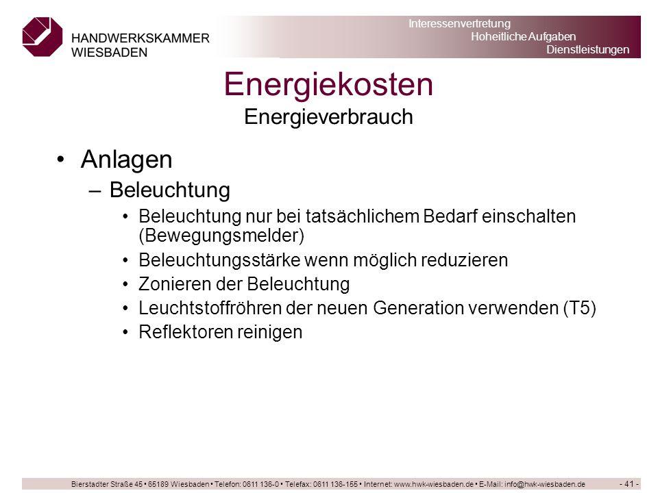 Energiekosten Energieverbrauch