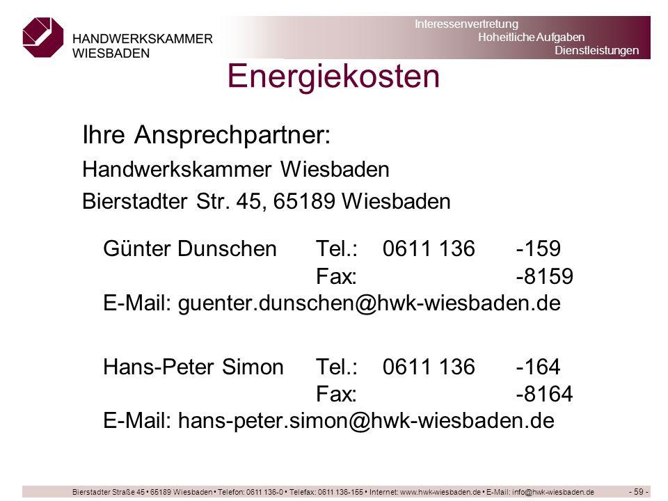 Energiekosten Ihre Ansprechpartner: Handwerkskammer Wiesbaden