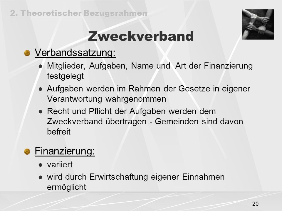Zweckverband Verbandssatzung: Finanzierung:
