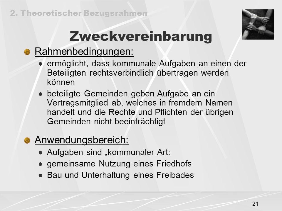 Zweckvereinbarung Rahmenbedingungen: Anwendungsbereich: