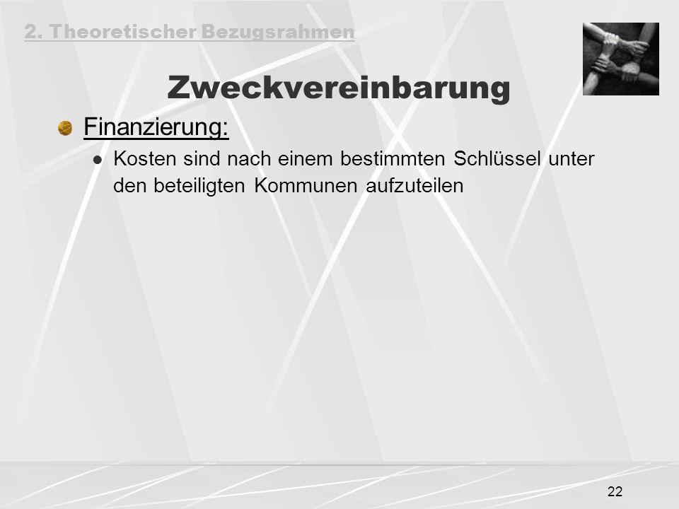 Zweckvereinbarung Finanzierung: