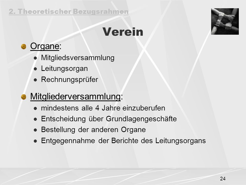 Verein Organe: Mitgliederversammlung: Mitgliedsversammlung