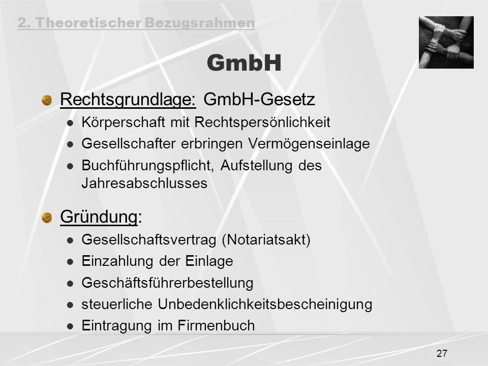 GmbH Rechtsgrundlage: GmbH-Gesetz Gründung: