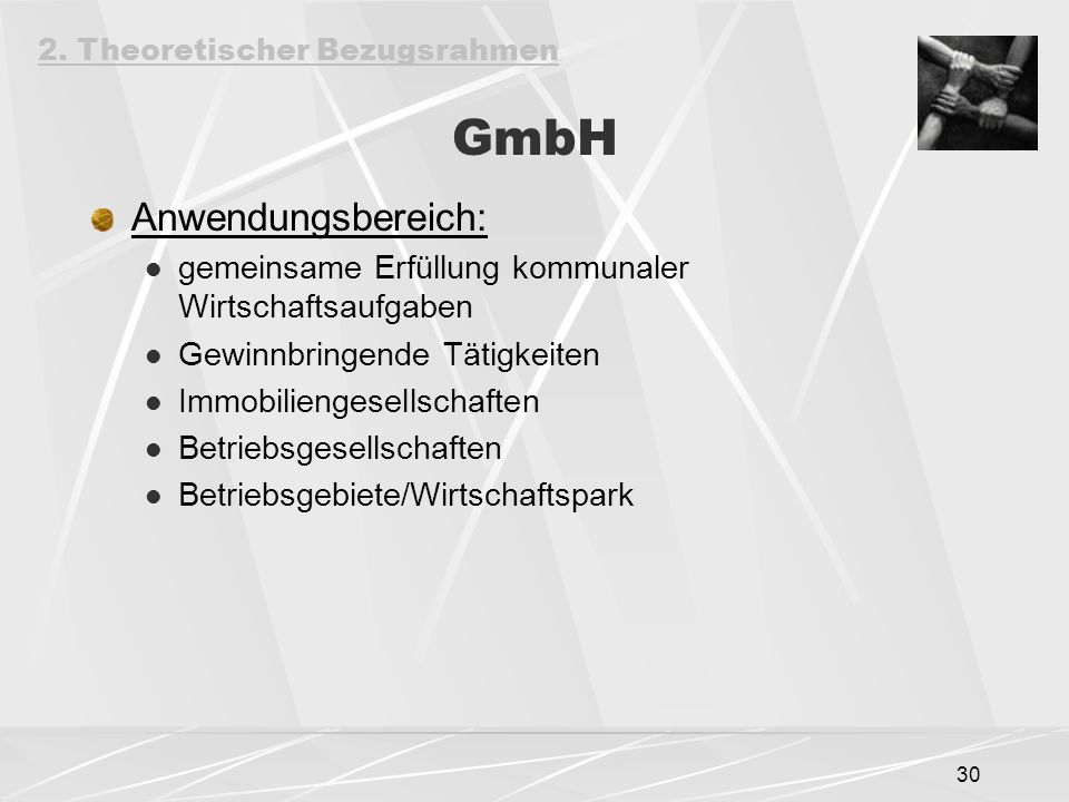 GmbH Anwendungsbereich: