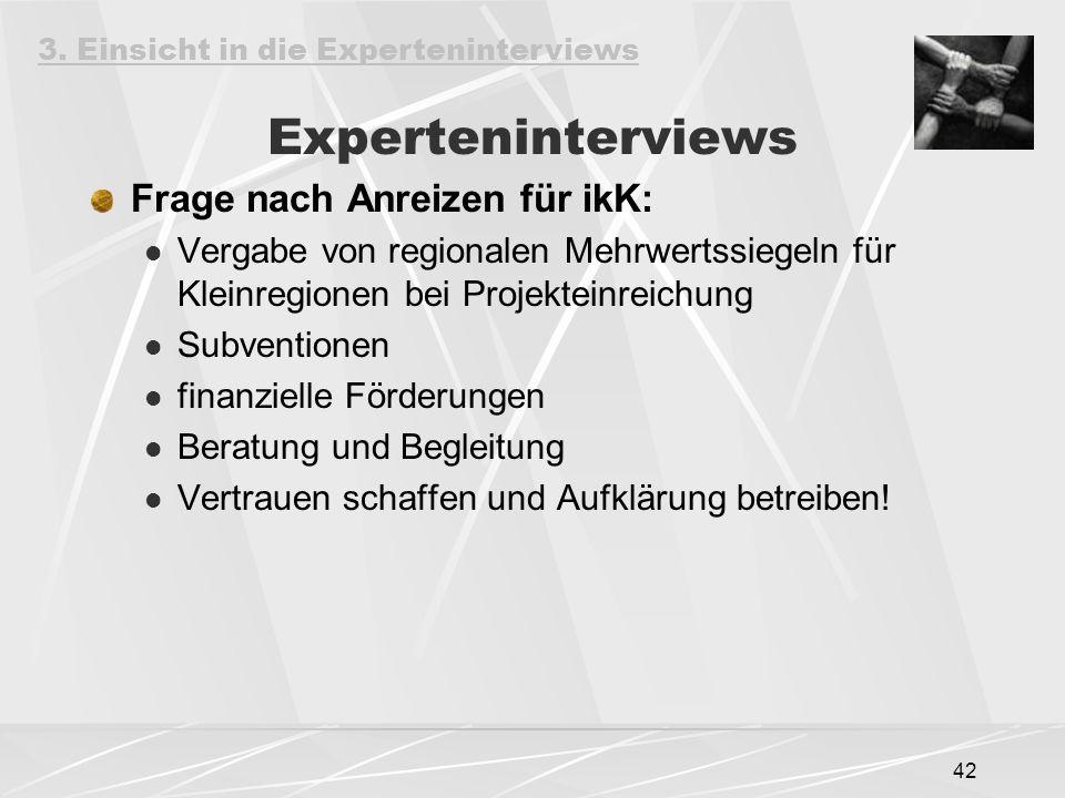 Experteninterviews Frage nach Anreizen für ikK:
