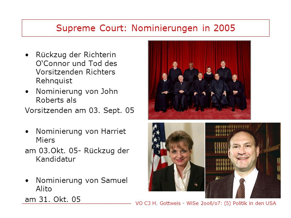 Supreme Court: Nominierungen in 2005
