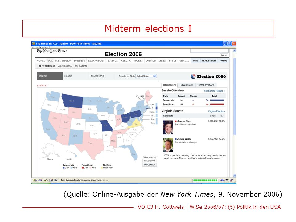 Midterm elections I (Quelle: Online-Ausgabe der New York Times, 9. November 2006)