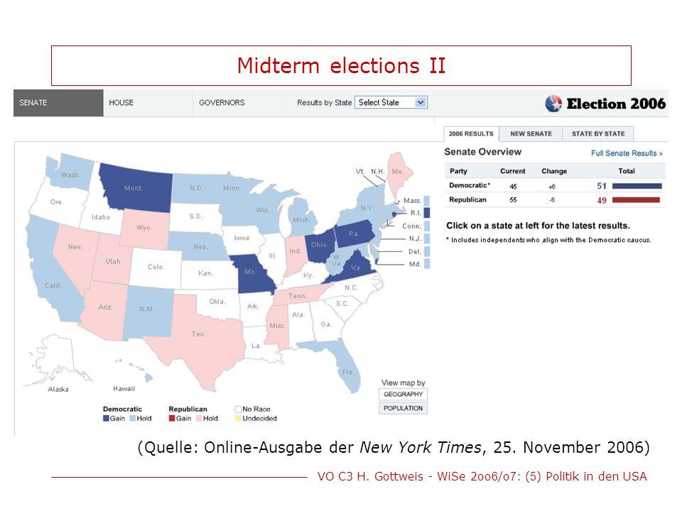 Midterm elections II (Quelle: Online-Ausgabe der New York Times, 25. November 2006)