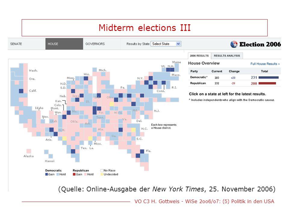 Midterm elections III (Quelle: Online-Ausgabe der New York Times, 25. November 2006)