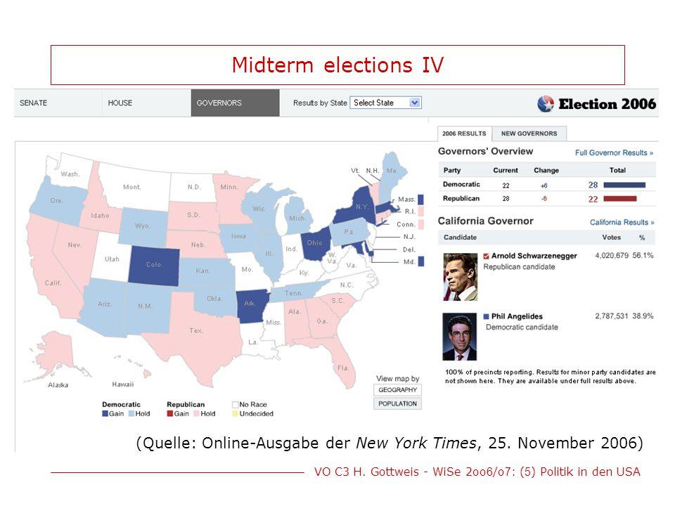 Midterm elections IV (Quelle: Online-Ausgabe der New York Times, 25. November 2006)
