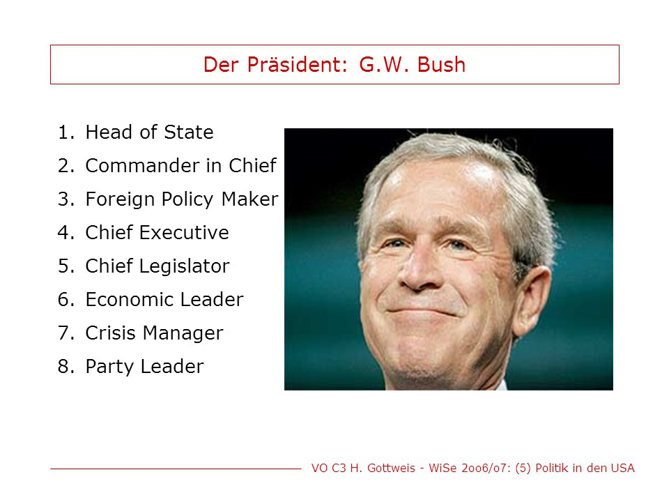 Der Präsident: G.W. Bush Head of State Commander in Chief