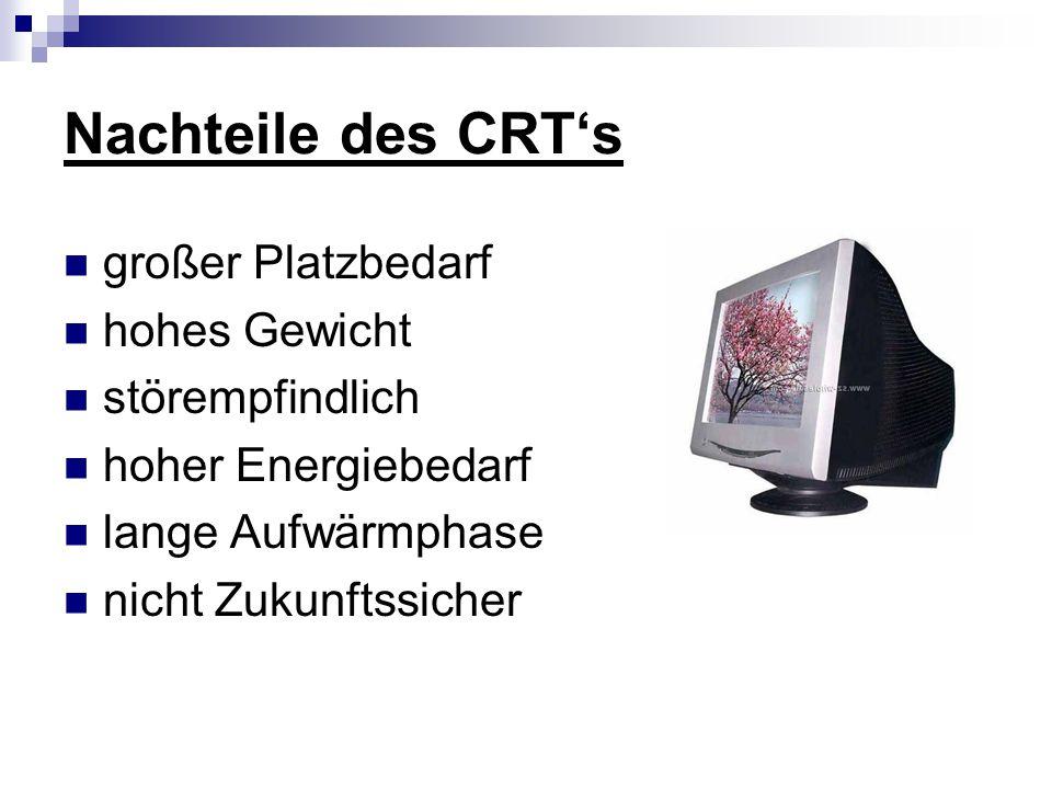 Nachteile des CRT's großer Platzbedarf hohes Gewicht störempfindlich