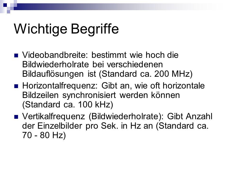 Wichtige Begriffe Videobandbreite: bestimmt wie hoch die Bildwiederholrate bei verschiedenen Bildauflösungen ist (Standard ca. 200 MHz)
