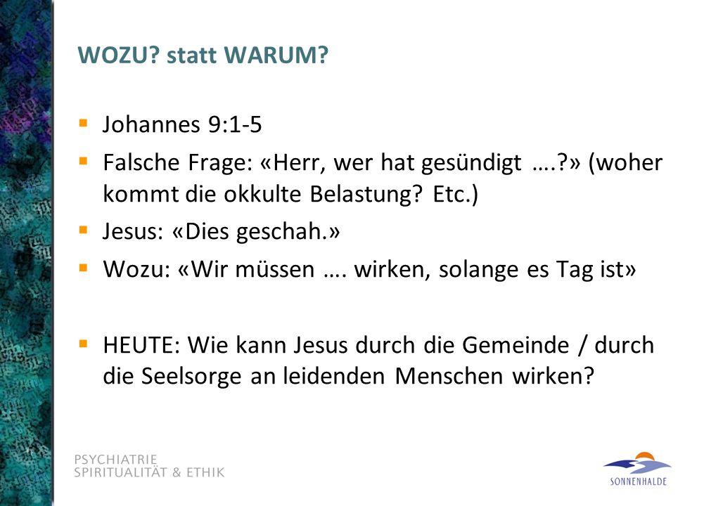 WOZU statt WARUM Johannes 9:1-5. Falsche Frage: «Herr, wer hat gesündigt …. » (woher kommt die okkulte Belastung Etc.)