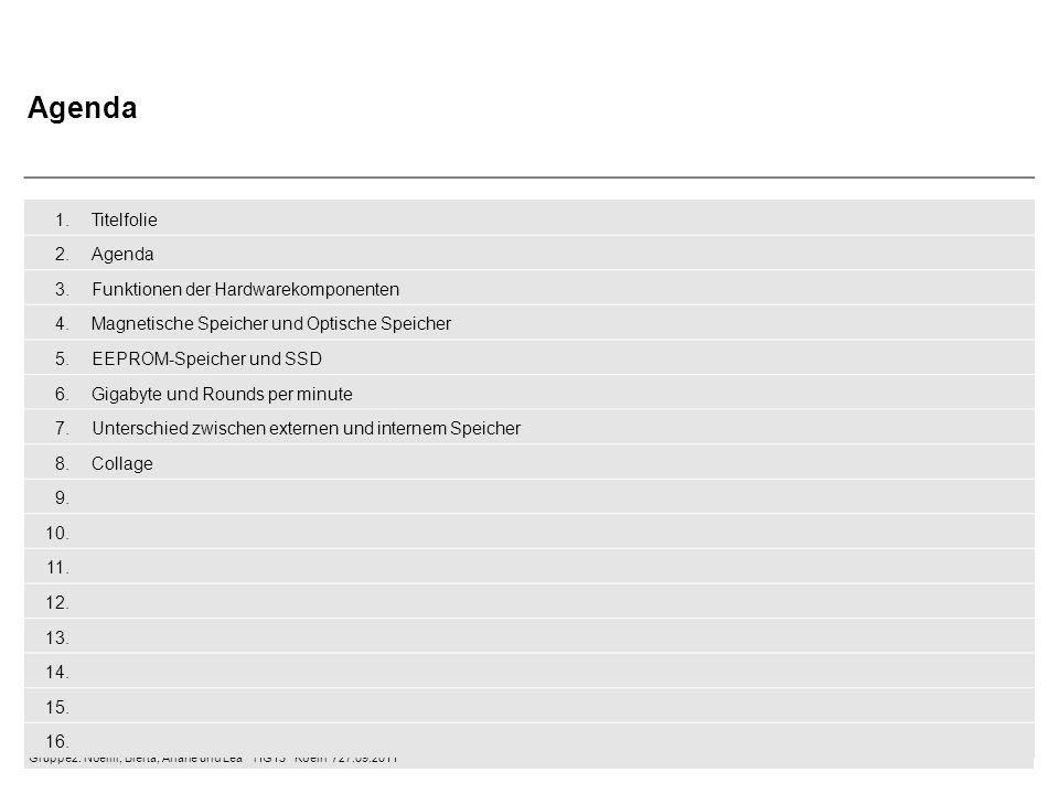 Agenda 1. Titelfolie 2. Agenda 3. Funktionen der Hardwarekomponenten