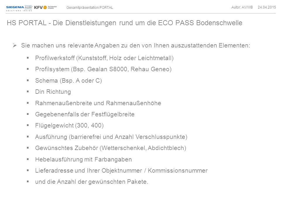 HS PORTAL - Die Dienstleistungen rund um die ECO PASS Bodenschwelle