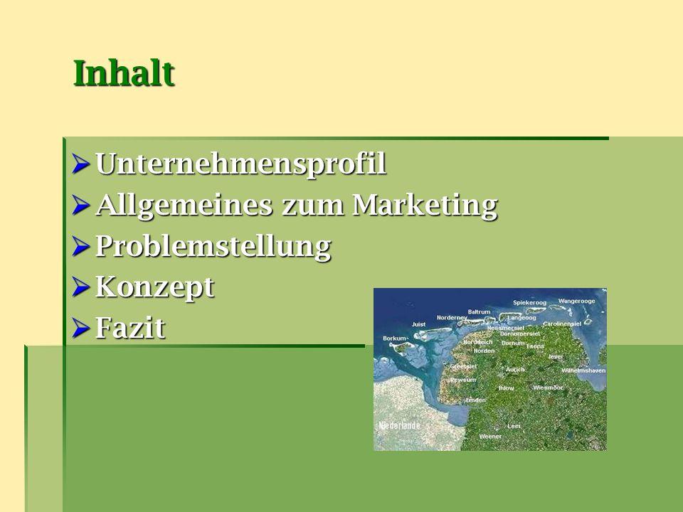 Inhalt Unternehmensprofil Allgemeines zum Marketing Problemstellung