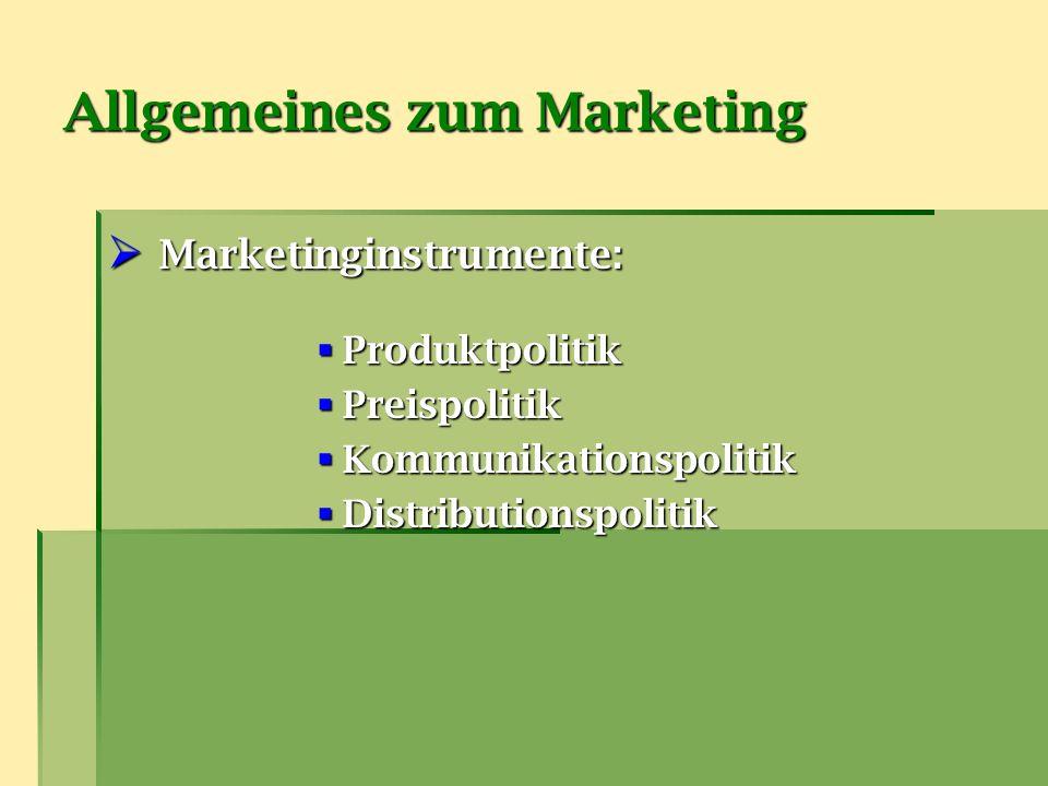 Allgemeines zum Marketing