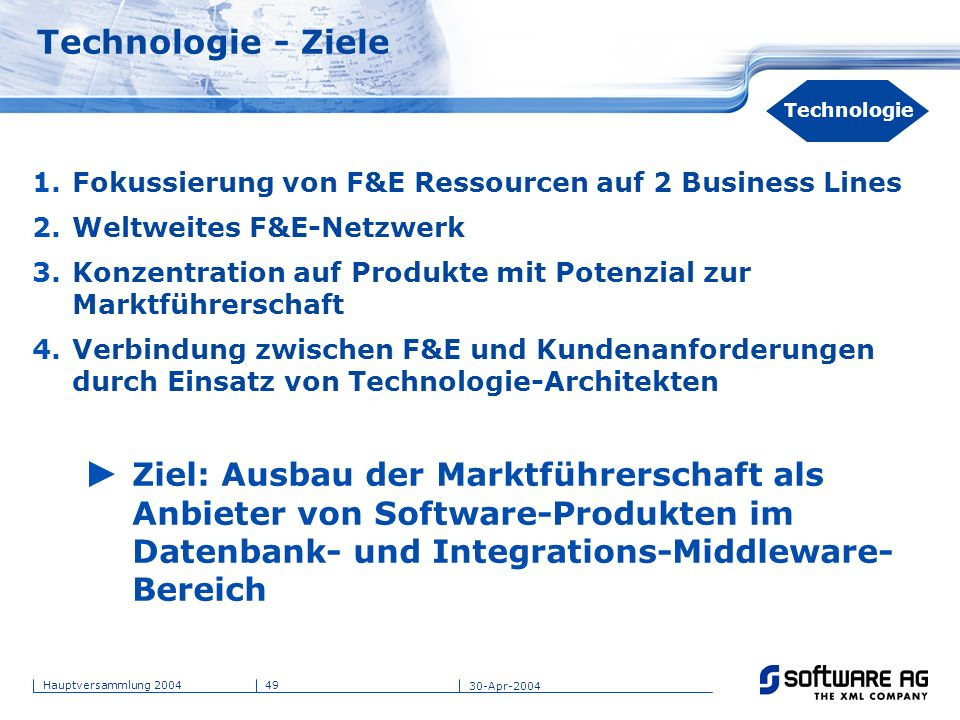 Technologie - Ziele Title of PPT. 20-Mar-17. Technologie. Fokussierung von F&E Ressourcen auf 2 Business Lines.
