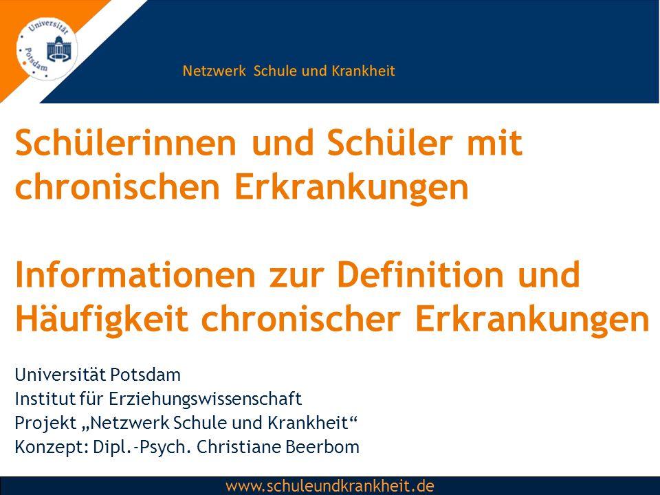Schülerinnen und Schüler mit chronischen Erkrankungen Informationen zur Definition und Häufigkeit chronischer Erkrankungen
