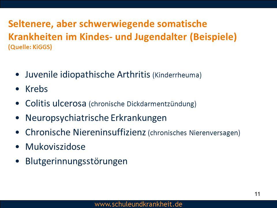 Seltenere, aber schwerwiegende somatische Krankheiten im Kindes- und Jugendalter (Beispiele) (Quelle: KiGGS)