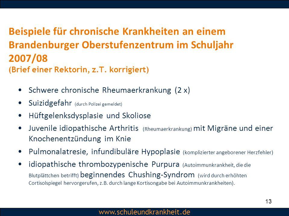 Beispiele für chronische Krankheiten an einem Brandenburger Oberstufenzentrum im Schuljahr 2007/08 (Brief einer Rektorin, z.T. korrigiert)