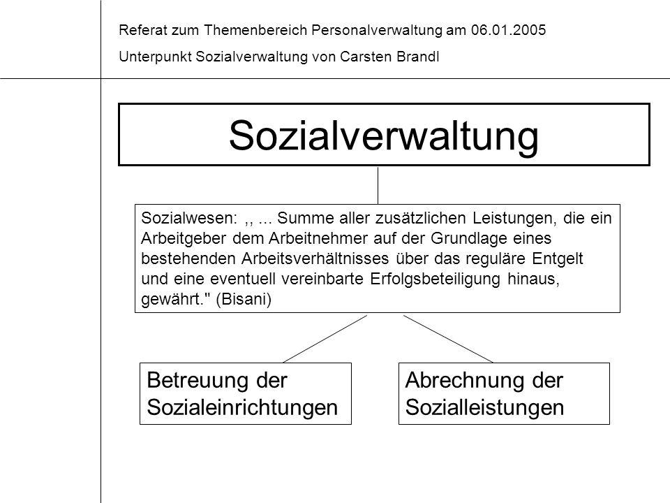 Sozialverwaltung Betreuung der Sozialeinrichtungen