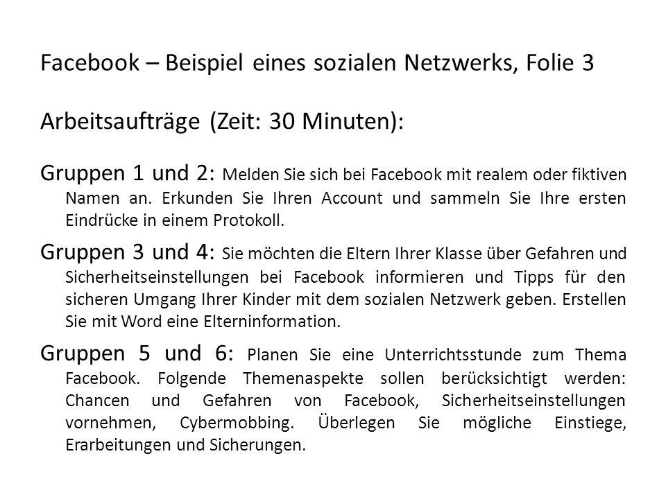 Facebook – Beispiel eines sozialen Netzwerks, Folie 3