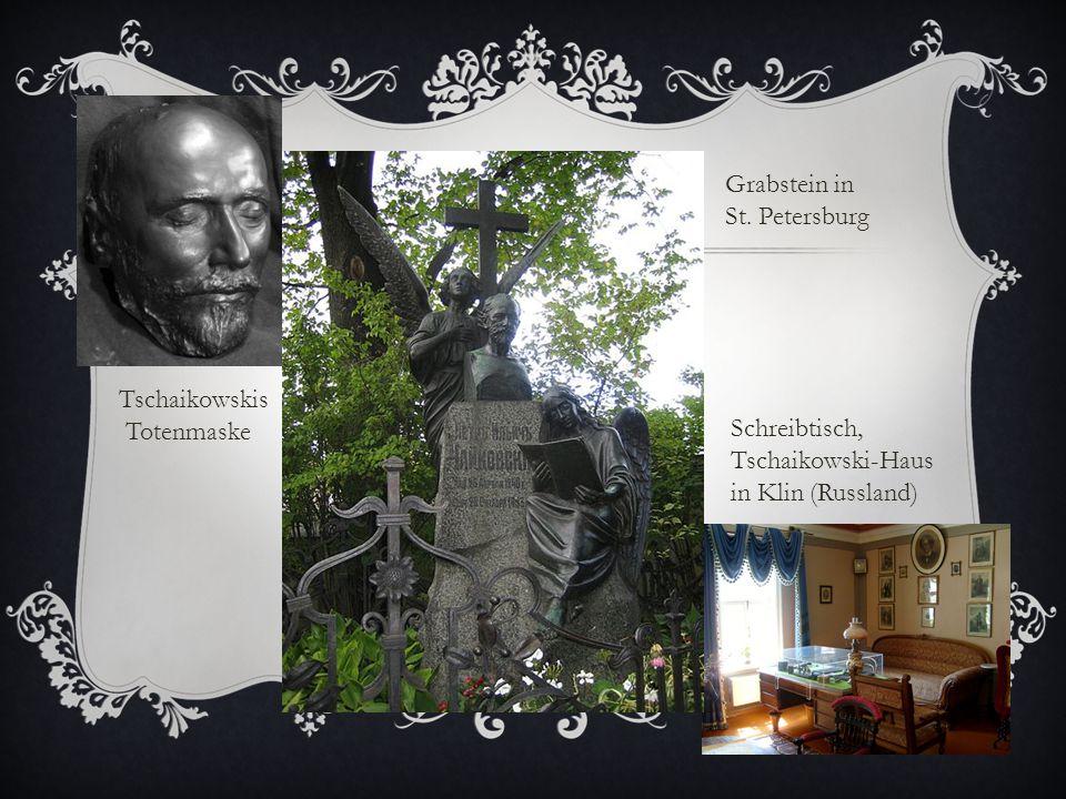 Grabstein in St. Petersburg. Tschaikowskis. Totenmaske.
