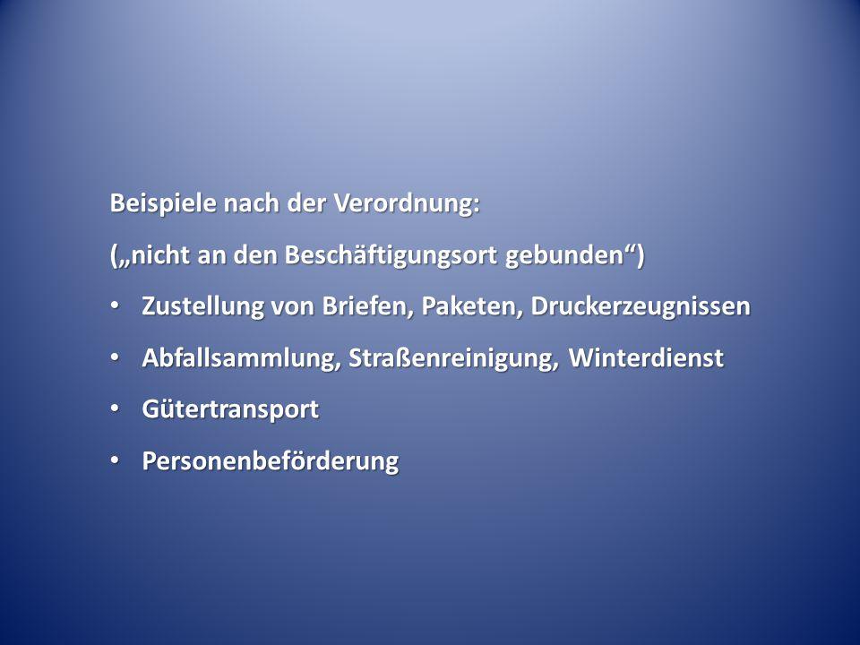 Beispiele nach der Verordnung: