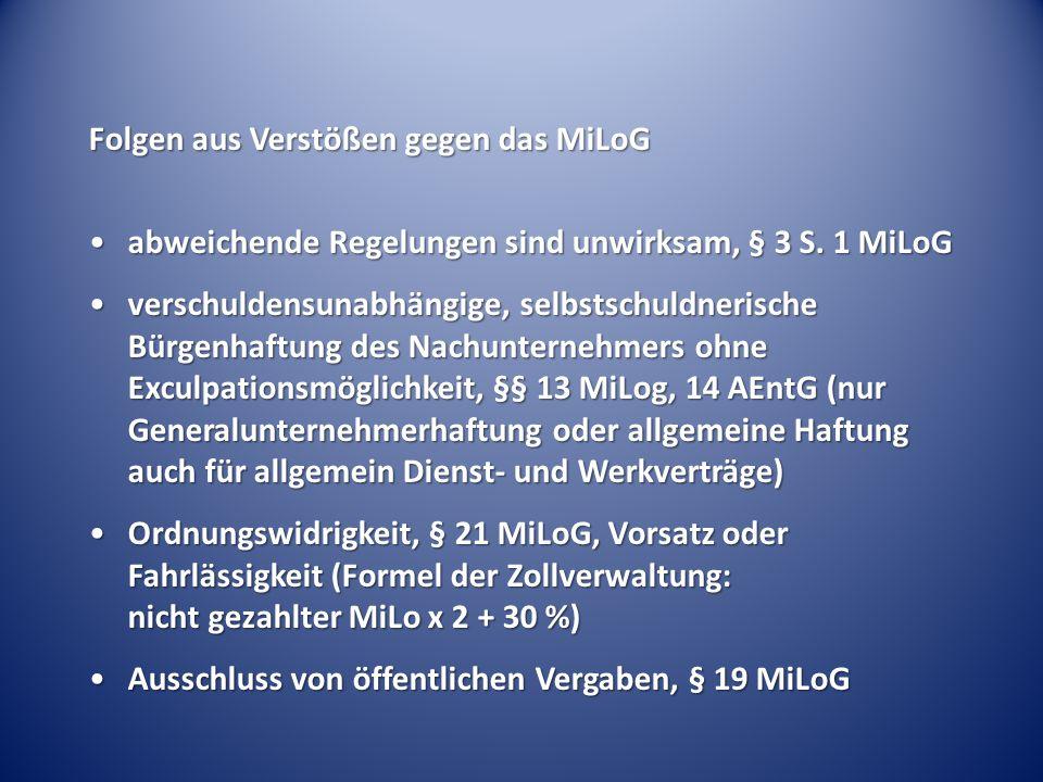 Folgen aus Verstößen gegen das MiLoG