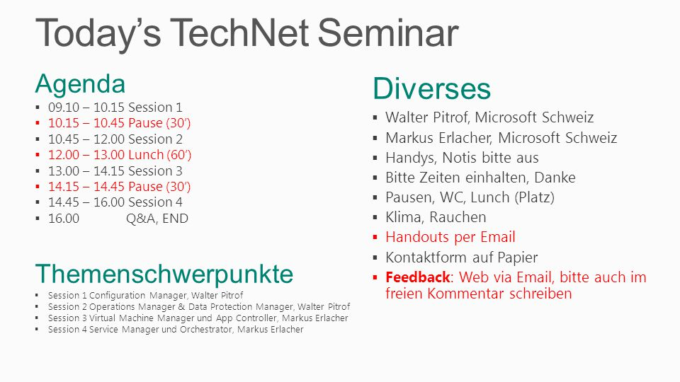 Today's TechNet Seminar